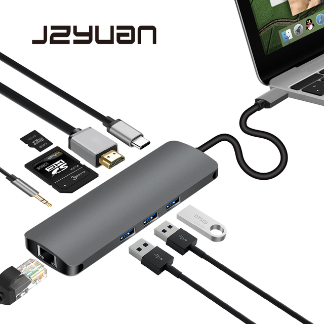 JZYuan USB C Type C 3.1 HUB to HDMI 3.5mm Audio RJ45 Gigabit Ethernet Adapter With Type C PD SD TF Card Reader Hub For Macbook