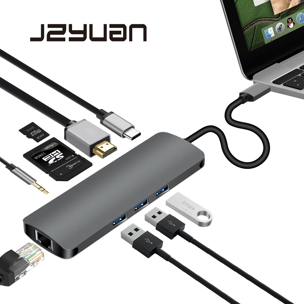 JZYuan USB di Tipo C C 3.1 HUB a HDMI 3.5mm Audio RJ45 Gigabit Ethernet Adapter Con il Tipo C PD SD TF Card Reader Hub Per Macbook