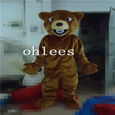 Ohlees in store plush brown bear Mascot Costume Halloween Christmas Birthday Props Costumes For Adult cartoon animal customize