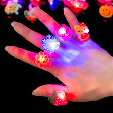 5pcs Luminous rings glow in the dark new children's toys flash gifts LED cartoon lights toys for childs kids playing in night(China)