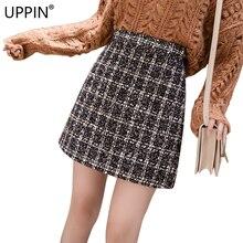 UPPIN Женская шерстяная мини-юбка осень зима старинный карандаш клетчатая короткая юбка с высокой талией Femininas юбки на молнии Femme Jupe
