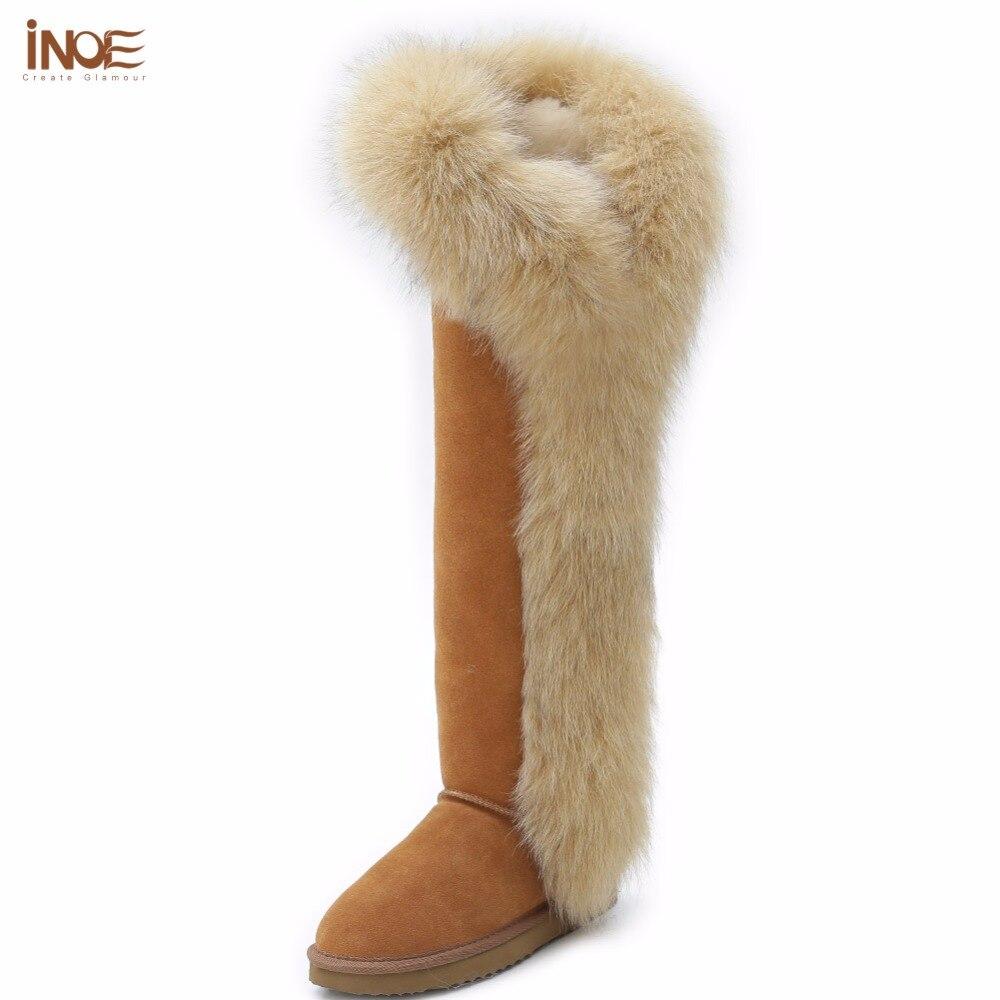 INOE mode fourrure de renard véritable peau de mouton en cuir longue laine doublée cuisse daim femmes hiver bottes de neige chaussures de haute qualité botas noir