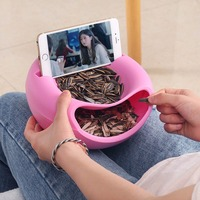 4 Colors Plastic Double Layer Dry Fruit Containers Bowl Shape Snacks Seeds Food Storage Box Plate