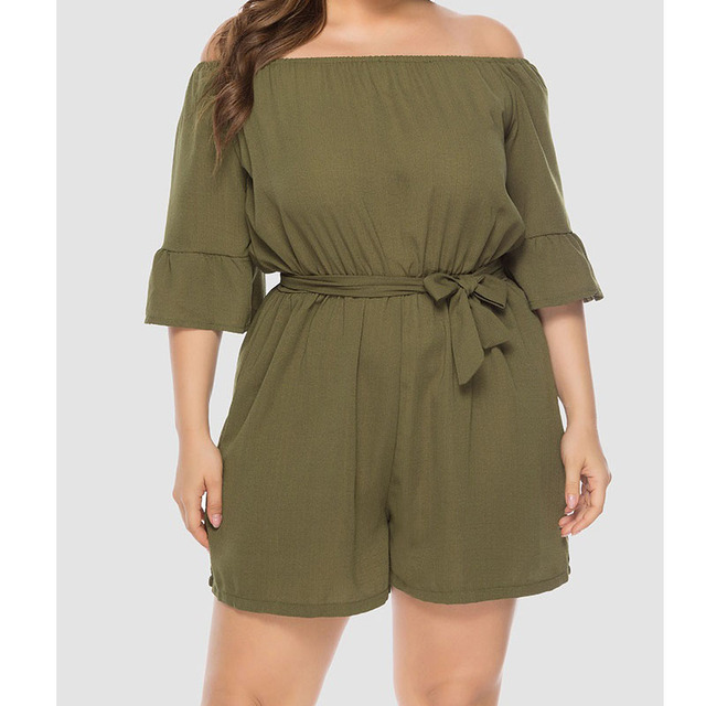 2019 summer New Women Off-Shoulder Playsuits Casual Lace Up Short-Sleeved  Loose Solid Sexy Playsuitst Rompers Plus Size 4XL 3