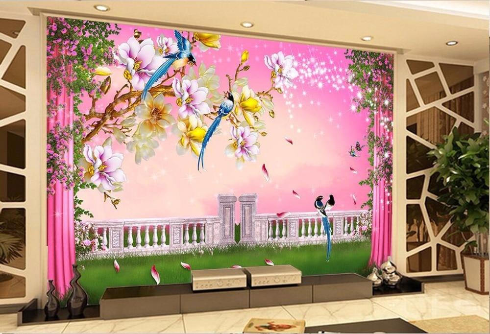 3d room wallpaper custom photo mural The dream pillar flower vine ...