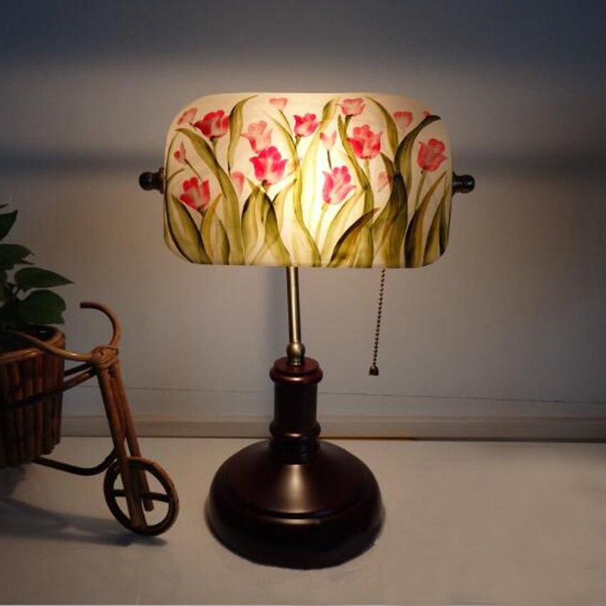 Lights & Lighting Led Lamps Vintage Painted Flower Glass Table Lamp Solid Wood Bracket E27 Lampholder Bedroom Bedside Living Room Deco Desk Light Fixture