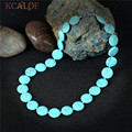 KCALOE Blue Turquoise Chokers Necklaces Bohemia Jewelry Fashion Round Natural Stone Statement Necklace Boho Accessories