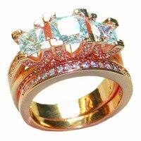 Choucong украшения богемный моды 925 стерлингового серебра и роза золотое покрытие три камень площадь Циркон Обручальное Кольца палец для Для же