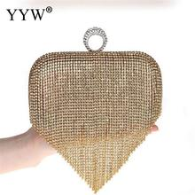 Tassels Clutch Bag Golden Diamond Tassel Women Party Crystal Clutches Evening Bags Wedding Bag Bridal Shoulder Handbag Purse day clutches elegant lady messenger bags for women clutch evening bag casual party purse beaded wedding handbag zh b0321