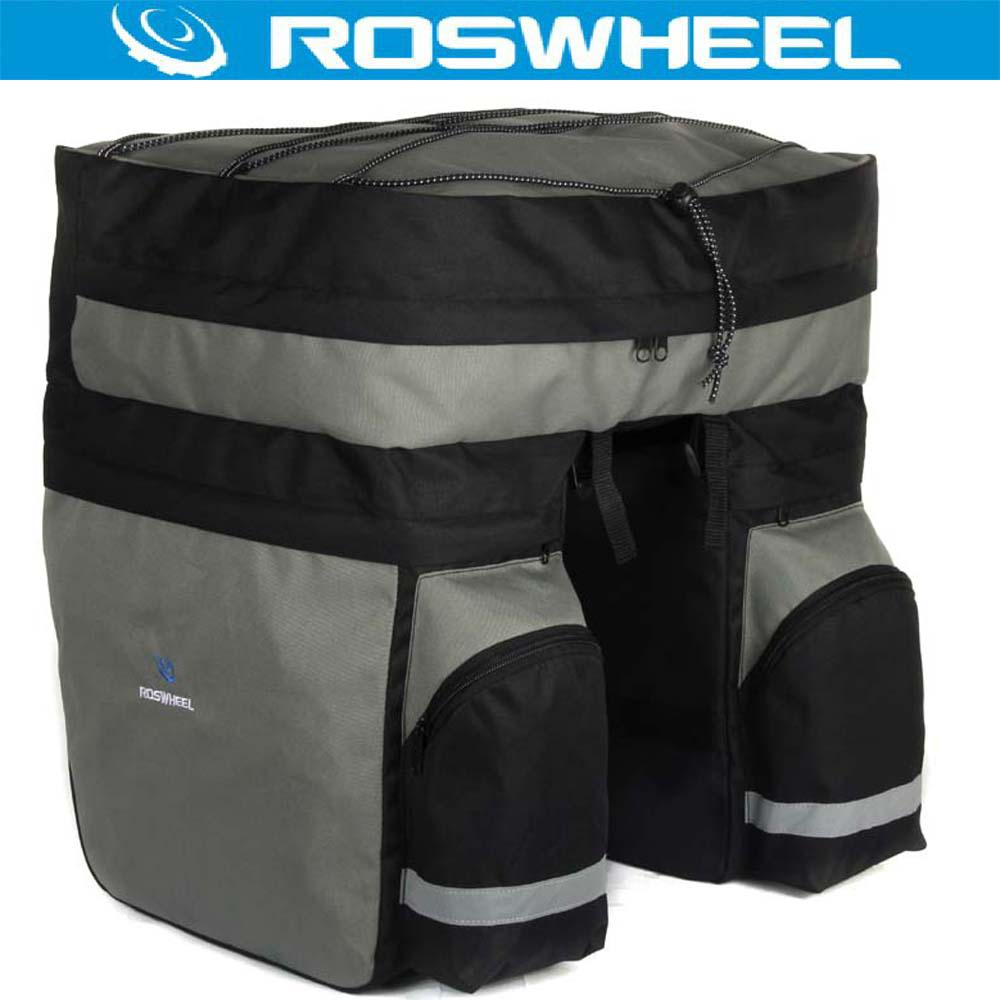 ROSWHEEL 3 in 1 60L Rear Bicycle Pannier MTB Large Capacity Cycling Carrier Mountain Road Bike Bag Basket Double Side Rear Rack
