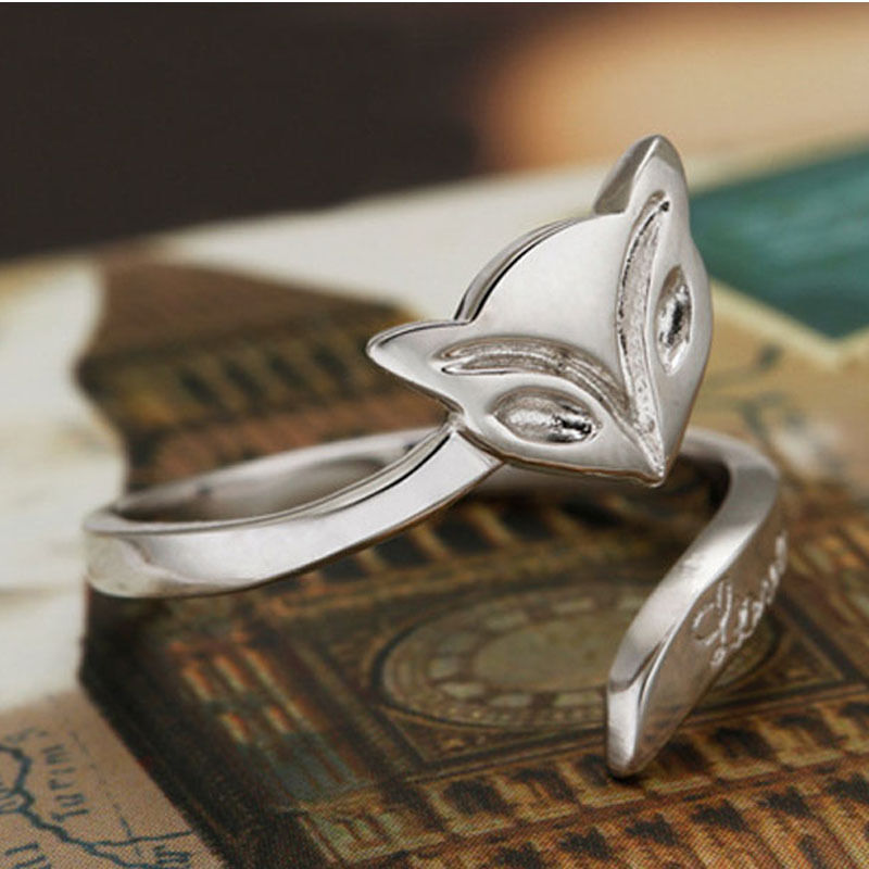 2017 STYLE Silver Fox ring finger fashion women lady Ring opening Adjustable Gift