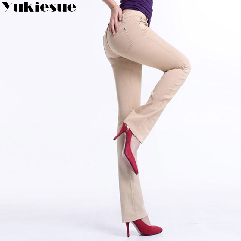 Large Sizes Skinny Women Flared Jeans For Women Pants Woman Denim Jeans Female Trousers With High Waist Jeans Ladies 2018