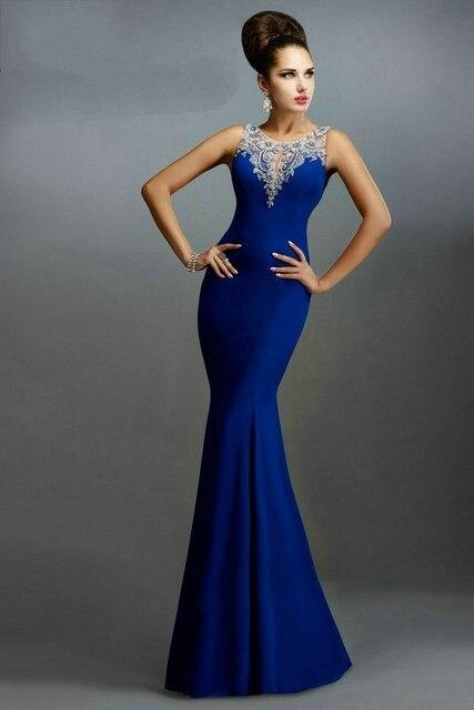 Vestidos De Festa 2016 Royal blue prom dress elegant mermaid prom dresses  sexy sheer back long party dresses vestidos de gala adbd7627a0d3