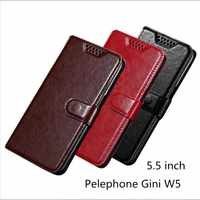For Pelephone Gini W5 Luxury PU Leather Back Cover Case For Pelephone Gini W5 Case Flip Protective Phone Bag