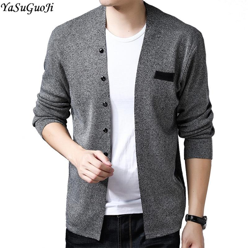 YASUGUOJI New 2018 Autumn Fashion Solid Color Single Breasted Slim Cardigan Men Casual V-neck Sweater Men Sueter Hombre KS13