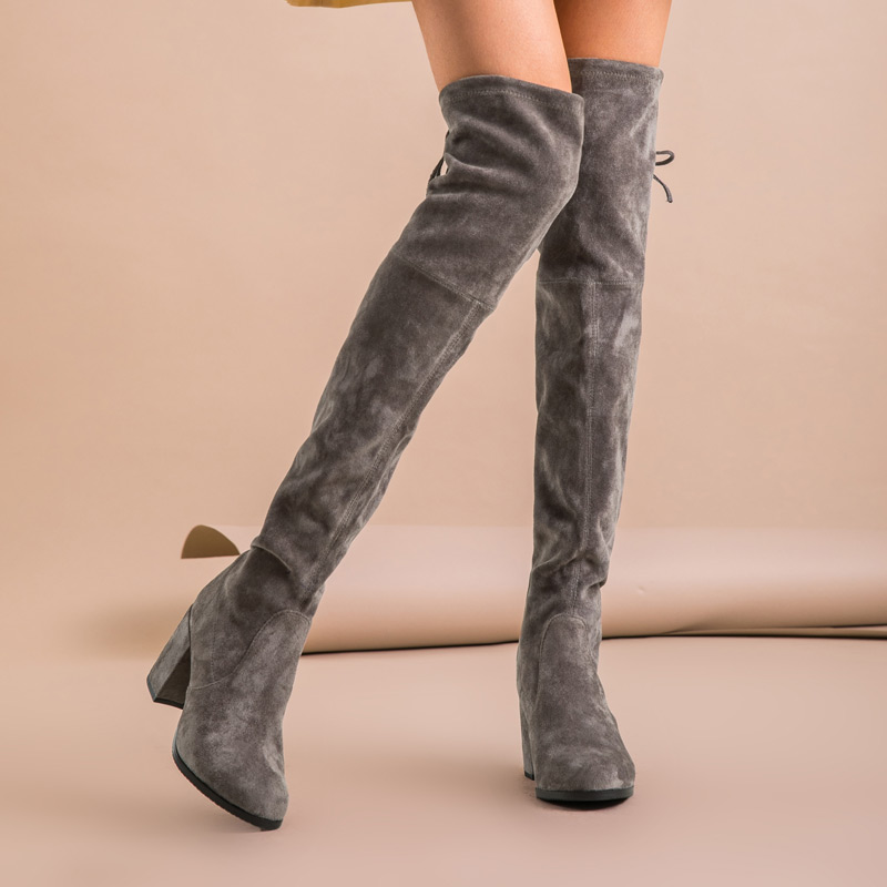 Image 2 - BeauToday Over The Knee Boots Women Kid Suede Leather Stretch Fabric High Heel Top Quality Lady Winter Long Boots Handmade 01011-in Over-the-Knee Boots from Shoes