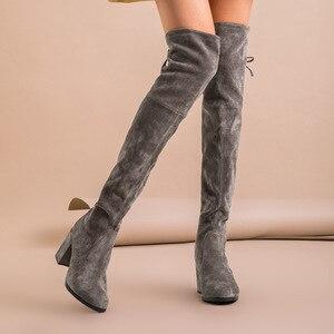 Image 2 - BeauToday فوق الركبة أحذية النساء طفل جلد الغزال تمتد النسيج عالية الكعب أعلى جودة سيدة الشتاء أحذية طويلة اليدوية 01011