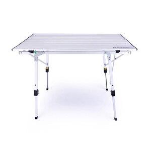 Image 2 - גובה מתכוונן שולחן מתקפל כסף שולחן נייד קמפינג מנגל טיולים נסיעה חיצוני פיקניק מתקפל אל Ultralight שולחנות