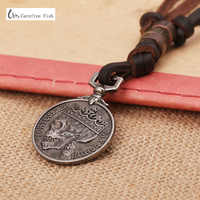 New male leather skull necklaces,100% genuine cowhide men's posthumous service medal mortumrex pax domini pendent jewelry N0045