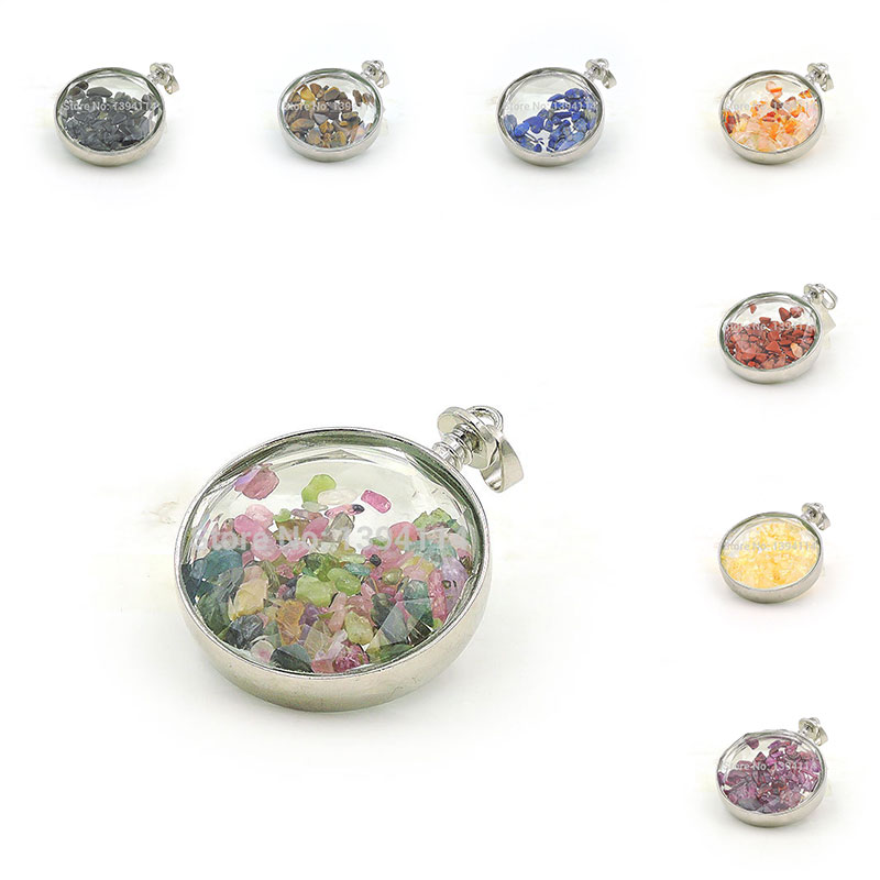 Natural Stone Chips Clear Glass Board Faceted Round Gluing Pendant Of Silver Cladding Approx 50 35