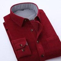 M 4XL Corduroy Dress Shirt Mens Classic Solid Color Long SLeeve Shirts For Men Slim Fit