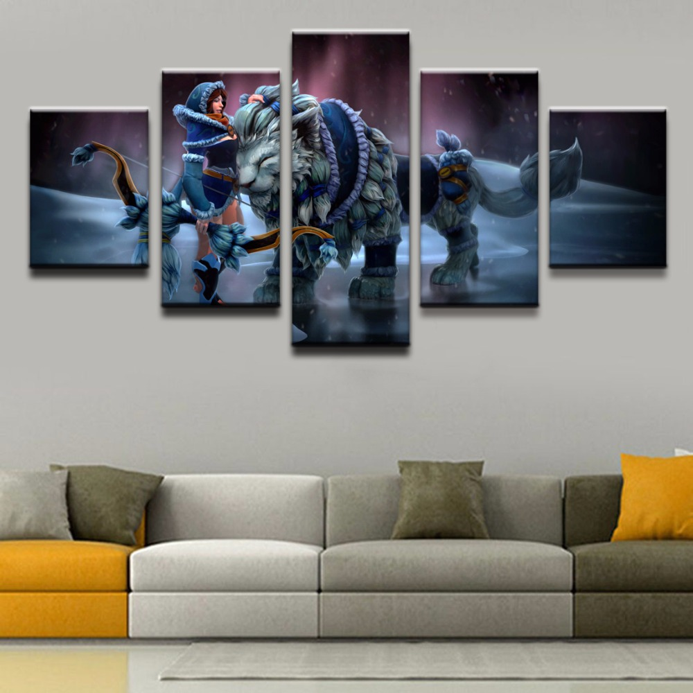 5 Pieces The Archers and the Beasts Home Decor Canvas Painting Modern Wall Art Pictures Canvas Printed Game Poster Wall Decor ...