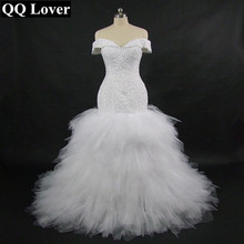 QQ Lover 2017 New African Mermaid Wedding Dress With Video Custom-made Plus Size Sexy Beaded Off The Shoulder Wedding Gown(China)
