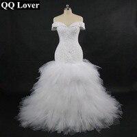 QQ Lover 2018 новый африканский Русалка свадебное платье с видео на заказ плюс Размеры Sexy бисером с плеча свадебное платье