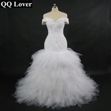 QQ Lover 2019 New African Off the Shoulder Mermaid Wedding Dress With Video Custom-made Plus Size Sexy Beaded Wedding Gown(China)