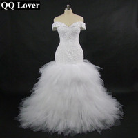 QQ Lover 2019 New African Off the Shoulder Mermaid Wedding Dress With Video Custom made Plus Size Sexy Beaded Wedding Gown