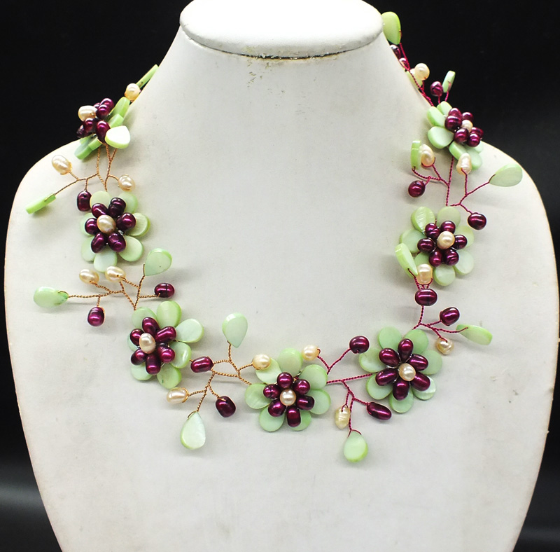 NO-0288# Charming woman jewelry.  Sea shells and freshwater pearls, hand-woven classic necklaces. Best gift for girlfriend