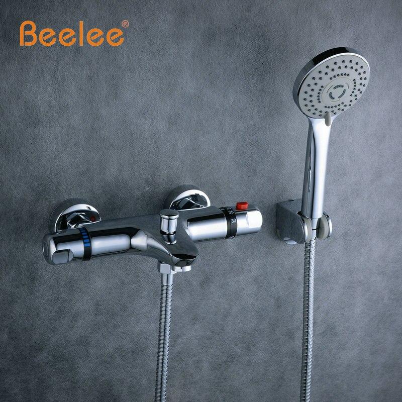 Beelee קיר רכוב אמבטיה תרמוסטטי רז מיקסר מקלחת חשוף שסתום תחתון פליז תרמוסטטי אמבטיה ברז אמבטיה ברז