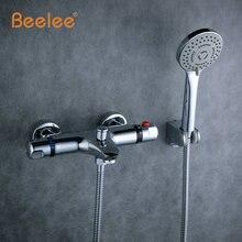 Beelee настенные ванна термостатический смеситель смеситель для душа подвергается клапан нижней латунь термостатический ванной смеситель для ванны bl0205