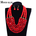 2016 uk Hot selling 6 color Nigerian Wedding bridal African Beads Jewelry Set statement Big Necklace / Earrings for women
