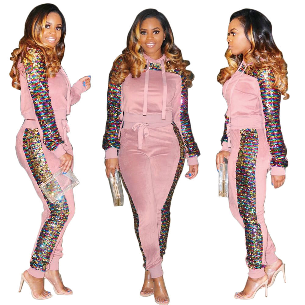 Autumn Winter Women Two Piece Set Velvet Side Sequin Tops And Pant Suit Casual Outfits 2 Piece Matching Sets Velour Tracksuits