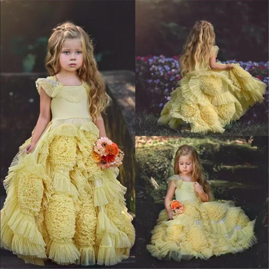 Vintage Yellow   Flower     Girls     Dresses   For Wedding Lace Applique Ruffles Cute Kids Formal Wear Hand Made   Flower   Pageant Gowns Longo