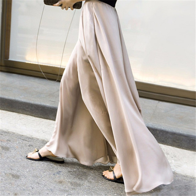 2017 New Arrivals Loose Long Maxi Women's Relaxted Fit Autumn Spring Large Size Women Trousers Fashion Wide Leg Satin Pants