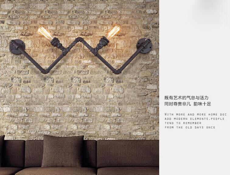 Новая мода Wroguht железные водопроводные трубы настенный светильник винтажный проходной светильник s Лофт железные настенные лампы Эдисона лампа накаливания кофе лампа