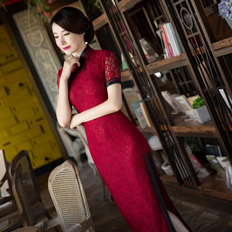 Vestito Sottile Cheongsam L S Corta Xxxl Cinesi Delle Di Xl Taglia Vestido Merlettano Lungo Nero Rosso rosso Il Manica Qipao M Elegante Arrivo Donne Modo Nuovo Xxl pOnYH1Px1