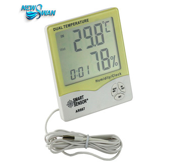 LCD Digital Hygrometer Thermometer Humidity Temperature moisture Meter Weather station Wet&Dry clock Alarm AR867 digital clock
