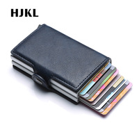 Top Quality Men Double Aluminum Leather Travel Card Wallet Rfid Credit Card Holder PU Leather Unisex Security Metal Smart Purse