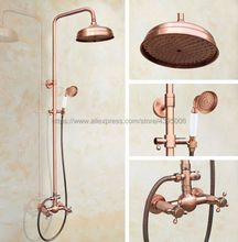 Antique Red Copper Wall Mount 8 inch Bathroom Shower Faucet Mixer Taps Dual Handle with Hand Held Shower Brg524