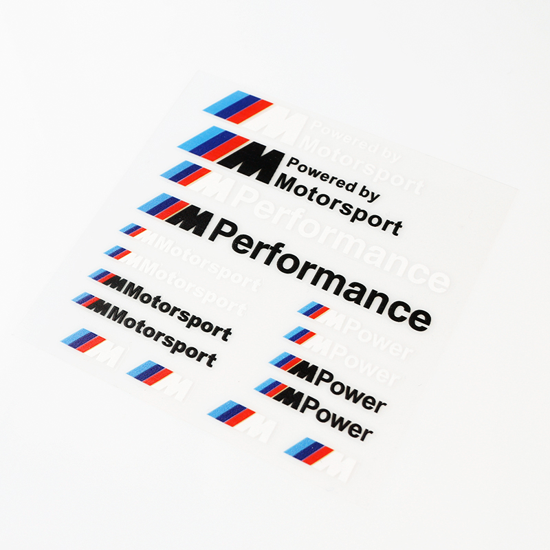 Etie Car-Styling ///M Performance Power Motorsport Car Stickers And Decals Kit For BMW X1 X3 X5 X6 3series 5 Series 7 Series 1pc car sticker for bmw motorcycle car styling stall paste m logo interior gear head stickers fit for bmw m3 m5 m6 x1 x3 x5 x6