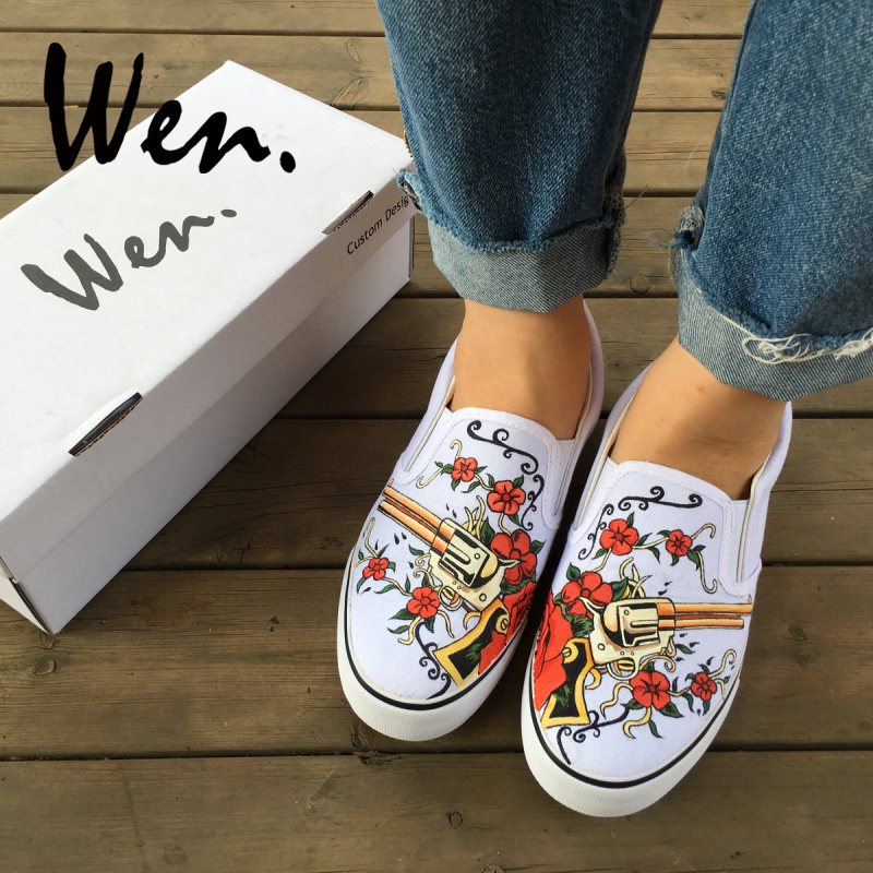 756d1786a9c0 Wen Custom Original Hand Painted Shoes Design Revolver Gun Red Rose Flower  On The Floral Vine Slip on White Canvas Sneakers