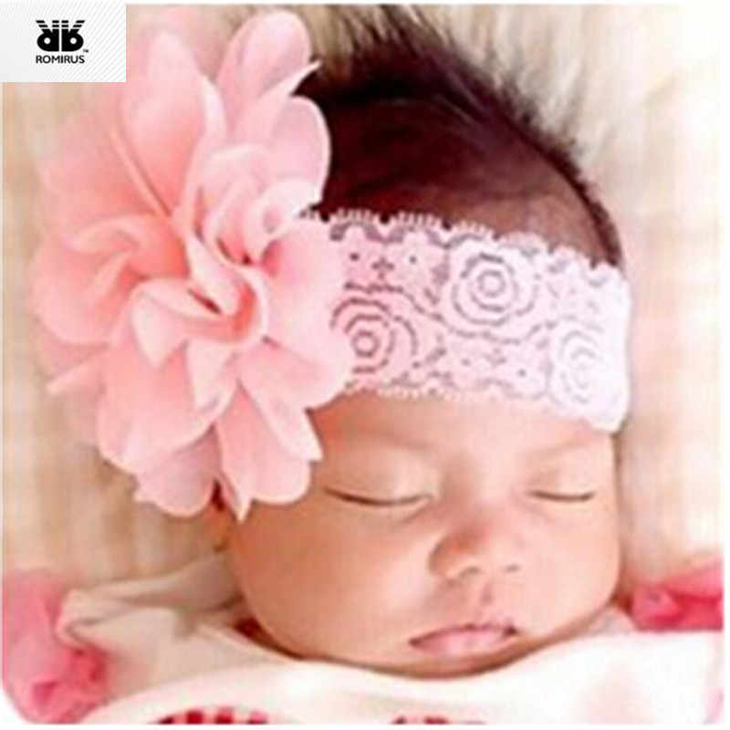 Headband Bandeau Bebe Fille Hair Accessories for Girls Solid Lace Flower Band for Baby Hair acessorios Faixa Para Bebe Menina