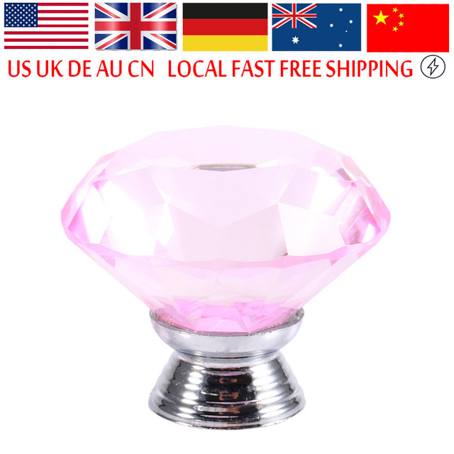 40mm Furniture Handle Clear Pink Crystal Glass Diamond Cut Door ...