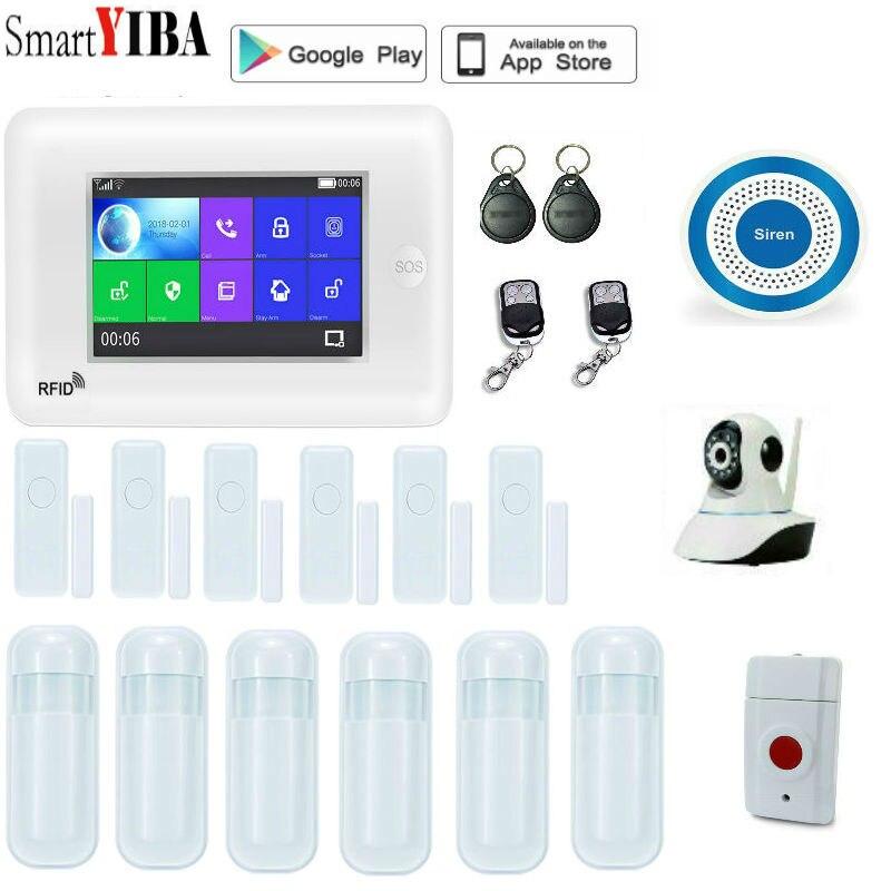 SmartYIBA sans fil 3G WCDMA KIT d'alarme antivol WIFI RFID système d'alarme de sécurité à domicile avec caméra vidéo IP capteur d'incendie de fumée