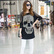 2017 women large size tops pullover long section skull head tees tide clothing street style self-cultivation ladies t shirt