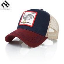 dfe8ebbe Evrfelan Fashion Animals Embroidery Baseball Caps Men Women Snapback Hip  Hop Hat Summer Breathable Mesh Sun