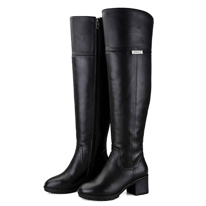 Image 2 - MORAZORA 2019 hot over the knee boots keep warm Genuine Leather Fur Wool Women Boots square high heels winter snow boots russia-in Over-the-Knee Boots from Shoes